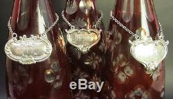 Fine ANTIQUE BOHEMIAN Ruby Cut Crystal Decanter Set with Sterling Tags c. 1920