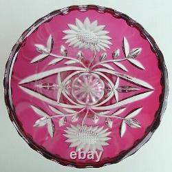 Fine Bohemian Cranberry Flashed & Cut Crystal Vase
