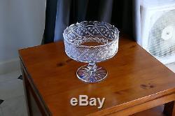 Finest 24% Lead Crystal Large Pedestal Bowl/ Fruit Biscuits Vase, Hand Cut