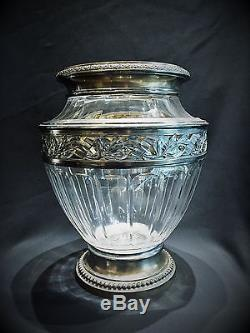 French Art Deco Hand-Cut Crystal and Sterling Silver Flower Vase, Ca. 1925