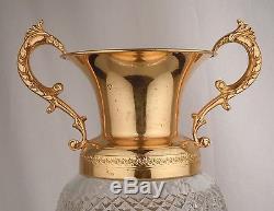 French Cut Crystal Ormolu Vase 12.25