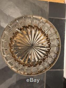 French Diamond Cut Crystal Vase With Gold Leaf Rim and Base