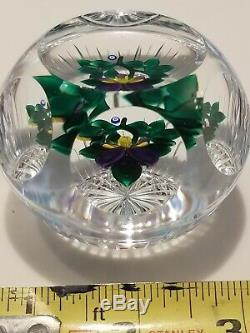 GORGEOUS BANFORD Colorful Pansies in Vase Cut Base Faceted PAPERWEIGHT