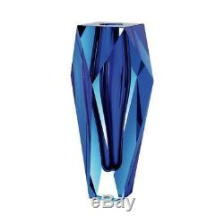 Gema Vase Alexandrite Blue Moser Hand-cut Crystal Glass L4¼'' x W4¼'' x H10