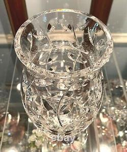 Gorgeous 9.25 Crystal Vase by Tiffany & Co. Floral Vine Signed Mint