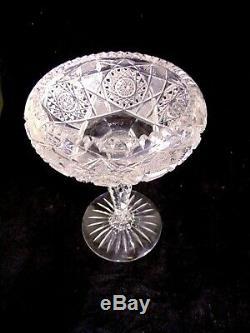 Gorgeous ABP Brilliant Cut Glass Crystal Compote Pedestal Bowl Vase