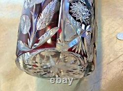 Gorgeous Antique Bohemian 13-1/2 Heavy Ruby Red Cut to Clear Roses Vase RBE