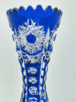 Gorgeous Arnstadt Blue Cut To Clear Crystal Dud Vase