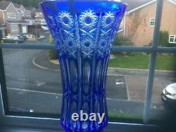 Gorgeous Arnstadt Blue Cut To Clear Crystal Vase 16 x 8 inches