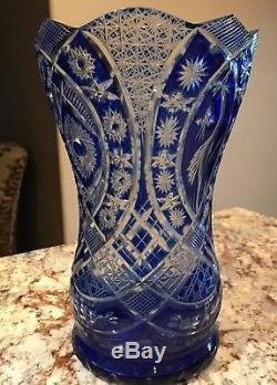 Gorgeous Bohemian Cobalt Blue Cut Clear Crystal Vase Large 11 EXCELLENT