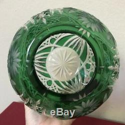 Gorgeous Bohemian Emerald Green Cut Clear Round Daisy Flower Crystal Vase EXCLNT