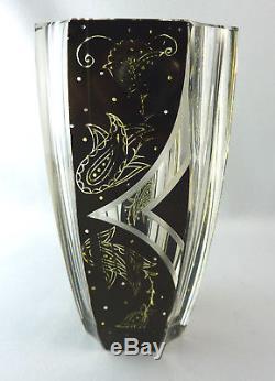 Gorgeous Bohemian cut crystal glass vase Art Deco probably Karl Palda