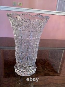 Gorgeous Czech Bohemian Hand Cut Crystal Glass Vase Brand New