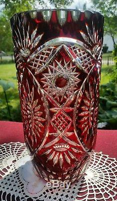 Gorgeous Vintage Bohemian Cut to Clear Crystal Ruby Red Cranberry Vase 10