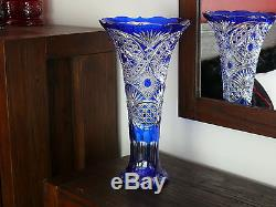 H49 cm Colour / Cased Crystal VASE, BLUE Cut to clear Overlay RUSSIA New