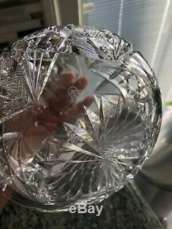 HAWKES Cut-Crystal Carafe Vase 7 Signed Early 1900's Beautiful Decanter