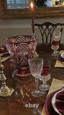 HUGE 10lb Ajka Ruby Red Cut to Clear Crystal Vase Hungary