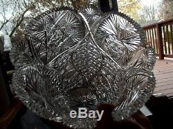 HUGE 11 VASE Bohemian Czech Glass HEART STAR lead crystal cut vintage brilliant