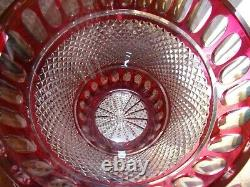 HUGE Cut To Clear Cranberry Red Crystal Champagne Ice Bucket Centerpiece Vase