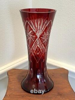 Hand Cut Bohemian Style Crystal Vase Cased Ruby Red Overlay Cut to Clear Glass