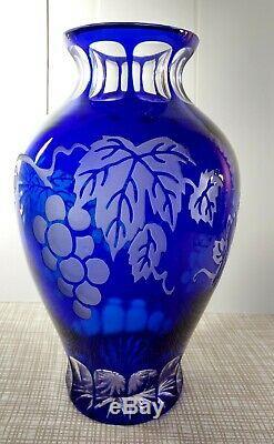 Hard to Find Vintage Bohemian Cobalt Blue Cut to Clear Grapes Vines Crystal Vase