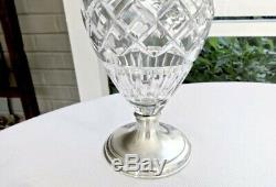 Hawkes Classic Urn Cut Crystal Sterling Silver 9 Vase