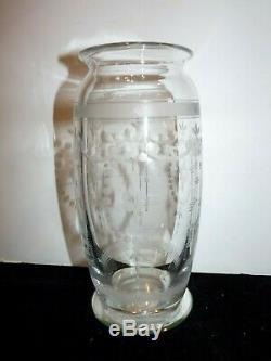Hawkes Crystal 9 Flower Vase Engraved Cut Art Deco Glass Trefoil Mark ABP