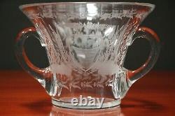 Heavy Swedish late 19th century cut crystal vase egraved flowers Celtic handles