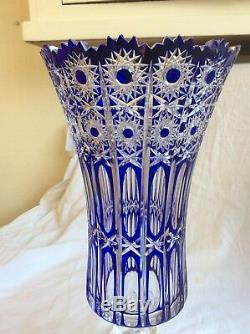 Huge Antique Cobalt Blue Lead Crystal Cut Glass Vase, Lausitzer German 17