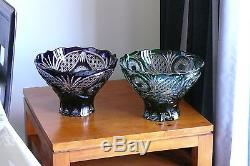 Huge CRYSTAL BOWL /FRUIT VASE 22x32 cm GREEN Cut to clear overlay, RUSSIA, New