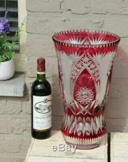 Huge Crystal glass cut cranberry clear red Vase Bohemia 1950s