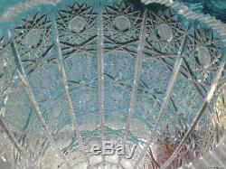 Huge Vintage Crystal Bohemian Glass Vase Czech Hand Cut Massive Heavy Old Rare