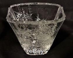 JOSEF SVARC Podebrady BOHEMIAN CZECH Cut Crystal Vase THISTLE Svetla nad Sazavou