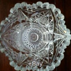J. HOARE 8 VASE American Brilliant Cut Glass Lead Crystal hobstar motif EUC
