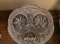LARGE 9 3/4 vtg HAND-CUT LEAD CRYSTAL Etched Stars flower vase Scalloped top