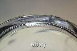 LARGE SIGNED Tiffany & Co. CLEAR CRYSTAL FLORAL LEAF CUT FLOWER DESIGN VASE