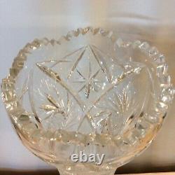 LARGE Vintage Hourglass Shape Cut Lead Crystal Flower Vase Etched 12 Point Star
