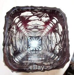 LARGE antique hand cut to clear cranberry glass crystal Czech Bohemian vase