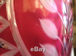LAUSITZER Hand Cut Crystal Vase CRANBERRY Bohemian EAST GERMANY Sawtooth ROSES