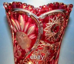 LAUSITZER IMPERLUX CRYSTAL Large Red Vase Blown Cut to Clear Overlay Bohemia