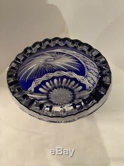 Large 10 German Cobalt Blue Cut to Clear 24% Lead Crystal Vase