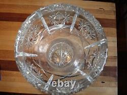 Large 15 Brilliant Cut Crystal Vase Free Blown Glass Hobstar Trophy Award