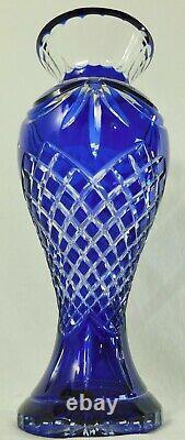 Large 16 Bohemian Czech Cobalt Blue Cut to Clear Crystal Tall Flower Vase