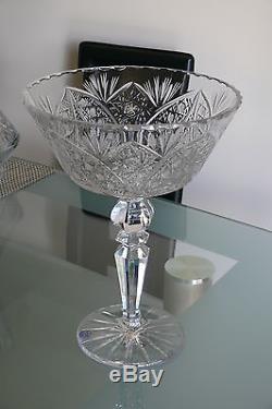 Large 24% Lead Crystal Pedestal Bowl / Fruit Vase, Hand Cut, Lace Pattern
