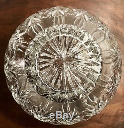 Large 8 x 9 Vintage Cut Crystal Glass Footed Rose Bowl Vase Centerpiece Urn