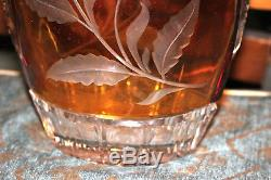 Large Amber Color Cut To Clear Glass Crystal Vase-Flowers-Heavy Glass Vase