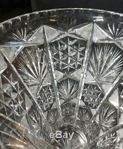 Large Antique ABP American Brilliant Deep Cut Crystal Vase Art Nouveau 14