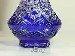 Large BLUE DECORATIVE VASE, 40 cm Tall, Cut to clear Overlay Cased Crystal