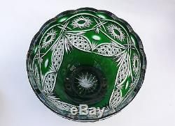 Large CRYSTAL BOWL /FRUIT VASE 21x24 cm GREEN Cut to clear overlay, RUSSIA, New