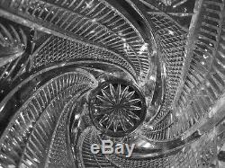 Large Crystal Vase Leaf Pattern Cut Glass